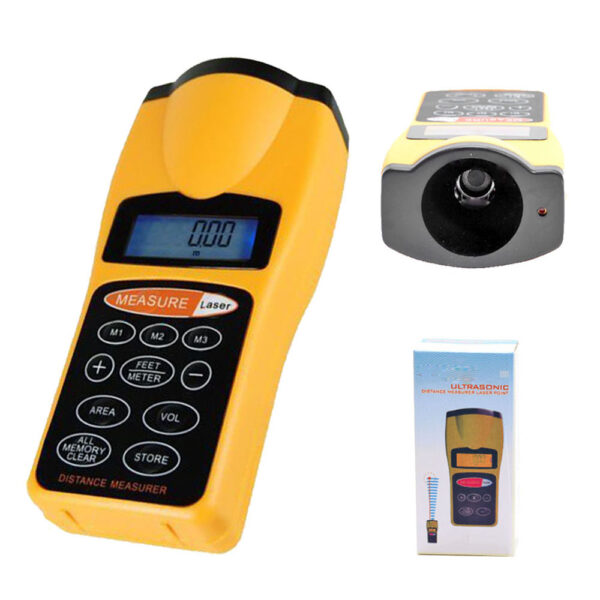 ultrasonic distance meter An ultrasonic distance meter cancels out the effects of temperature and humidity variations by including a measuring unit and a reference unit in each of the units, a repetitive series of pulses is generated, each having a repetition rate directly related to the respective distance between an electroacoustic transmitter and an electroacoustic receiver.