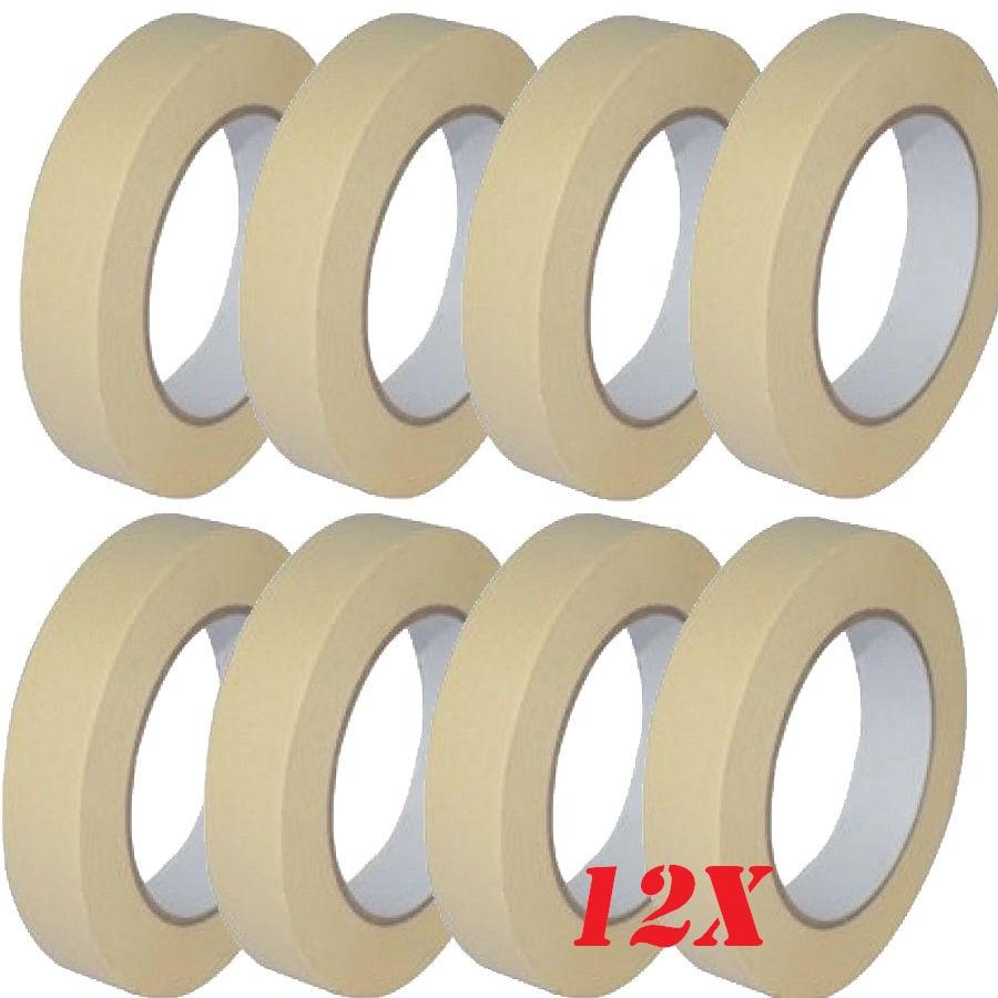 12 x low tack masking tape 25mm x 50m multi surface use eshopping247 - Masking tape utilisation ...